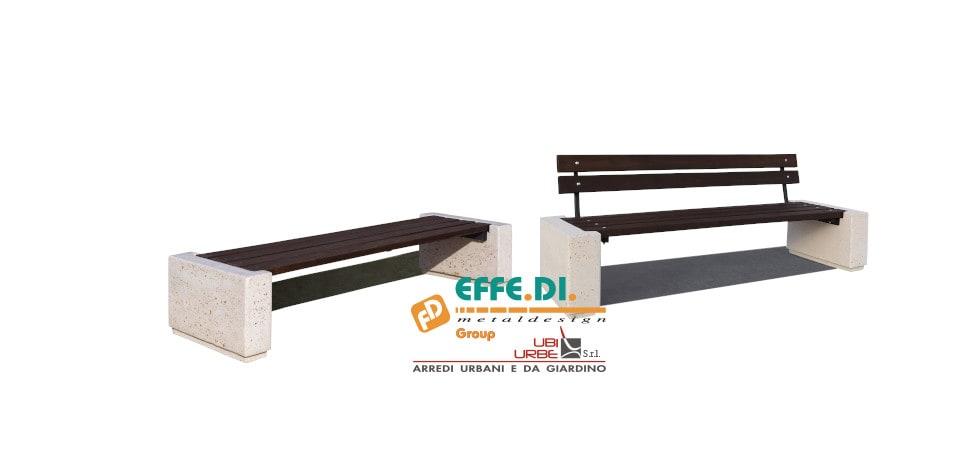 Panchina con basamenti in cemento con e senza schienale