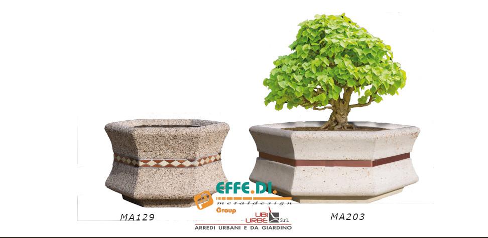Fioriere in cemento esagonale Maia MA129 e MA203