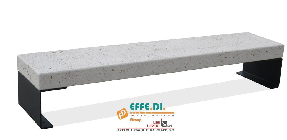 Panchina in cemento acciaio e plastica riciclata PA230