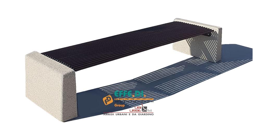 Panchina in cemento acciaio e plastica riciclata PA300
