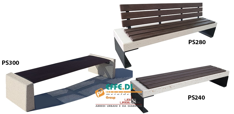 Panchina in cemento acciaio e plastica riciclata