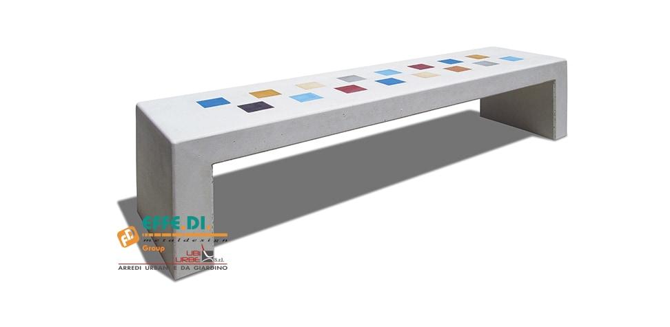 panchina in cemento colorata arcobaleno pa553