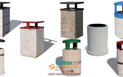 Cestini portarifiuti in cemento per esterni