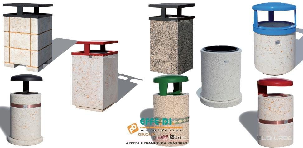 Cestini portarifiuti per esterni in cemento