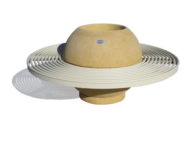 Fioriera Saturno con panca in acciaio