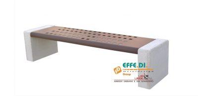 Panchina con seduta in acciaio