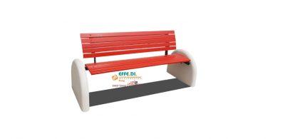 Panchina nuova rondine in legno con supporti in cemento A431_r