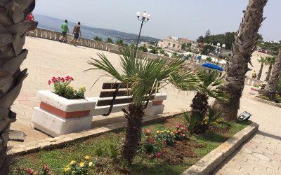 Piazza Dante – Castro Marina (Le) panchine in cemento con schienale in legno