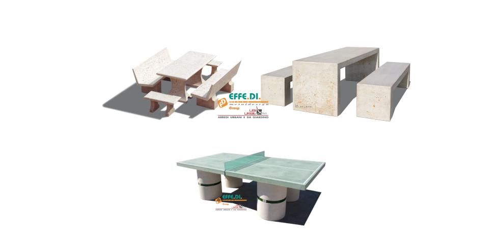 Tavoli in cemento per esterni, piazze e giardini
